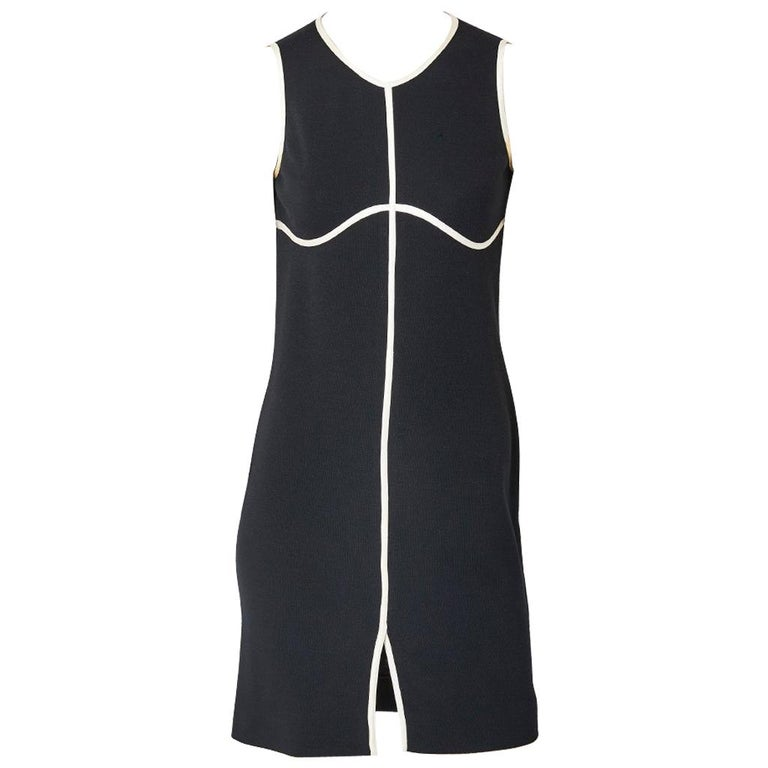 Geoffrey Beene Black and White Wool Jersey Dress For Sale