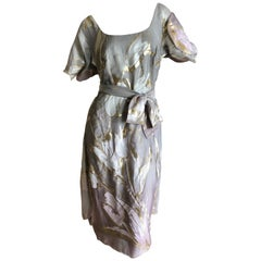 Vivienne Westwood Couture Silver Dress with Golden Tulip Pattern with Sash Belt
