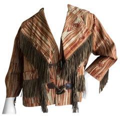 Vivienne Westwood Vintage Unisex Woodgrain Pattern Jacket with Suede Fringe
