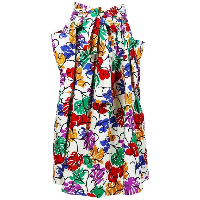 Yves Saint Laurent YSL Vintage Matisse Inspired Floral Cotton Sash Skirt For Sale
