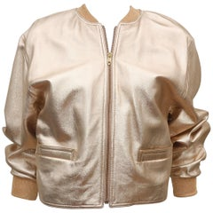 C.1990 Isaac Mizrahi Gold Leather Bomber Jacket