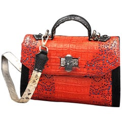 Crocodile Handle Bag in Red with Blue Laser Cuttings on Side