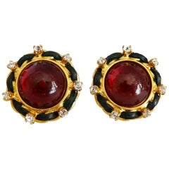Chanel Vintage Red Gripoix Clip On Earrings, Fall 1995