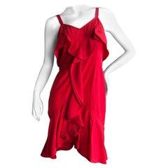Yves Saint Laurent Tom Ford Fall 2003 Look 1 Red Ruffle Silk Dress