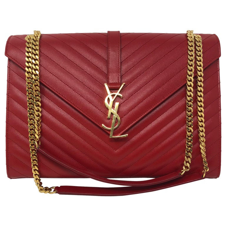 d92aa81e5642 YSL Red Leather Large Matelasse Chain Shoulder Bag at 1stdibs