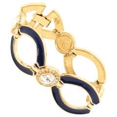 Bergdorf Goodman 1980s Vintage Blue Enamel Bracelet with Crystals.