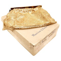 ME Whiting & Davis 1970s Vintage Gold Tone Mesh Evening Bag