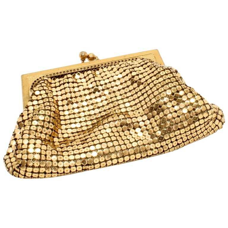 Whiting & Davis 1970s Vintage Gold Mesh Evening Purse For Sale