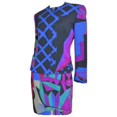 1980s Ganni Versace Abstract Pattern Dress and Coat