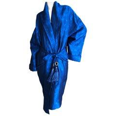 Gianni Versace Intimo 1980's Silk Butterfly Pattern Brocade Robe w Fringe Belt