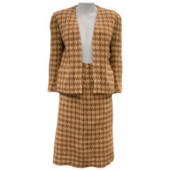 Vintage Rodier Paris Knitted Jacket and Skirt Ensemble, Houndstooth Pattern