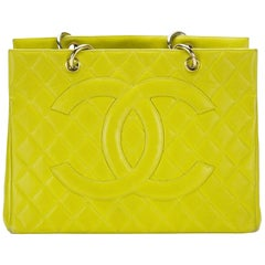 Chanel Lime Green Yellow GST Large CC Logo Grand Caviar Shopper Shopping Tote