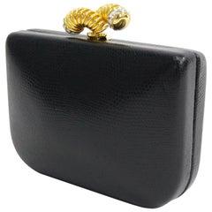 Rodo Black Lizard Skin Vintage Clutch with Rhinestone Closure