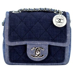 Chanel Small Denim Two Tone Medallion Mini Crossbody Shoulder Classic Flap Bag