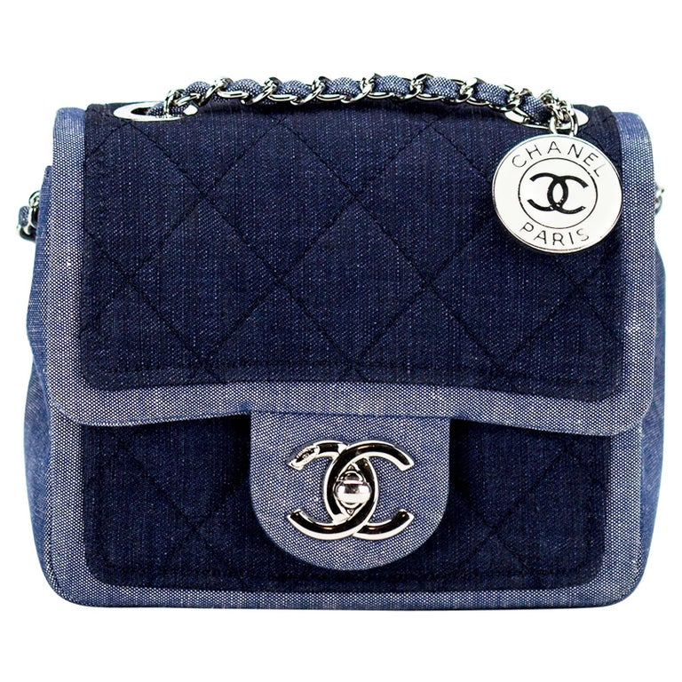 Chanel Small Denim Two Tone Medallion Mini Crossbody Shoulder Classic Flap Bag For Sale
