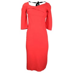 Roland Mouret Red 3/4 Sleeve Asymmetrical Neckline Dress Sz 10