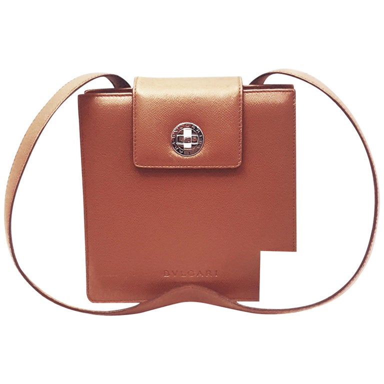 be268ff5dd83 Bulgari Camel Leather Structured Shoulder Bag