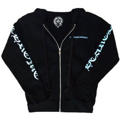 Chrome Hearts Black/Blue Logo Zip Up Hoodie Sweatshirt w. Sterling sz XS