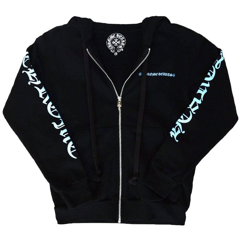 40831a6db6905 Chrome Hearts Black Blue Logo Zip Up Hoodie Sweatshirt w. Sterling sz XS For