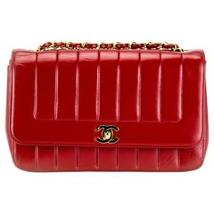 Chanel Red Lambskin Stripe Diana Medium Vintage Classic Flap Bag