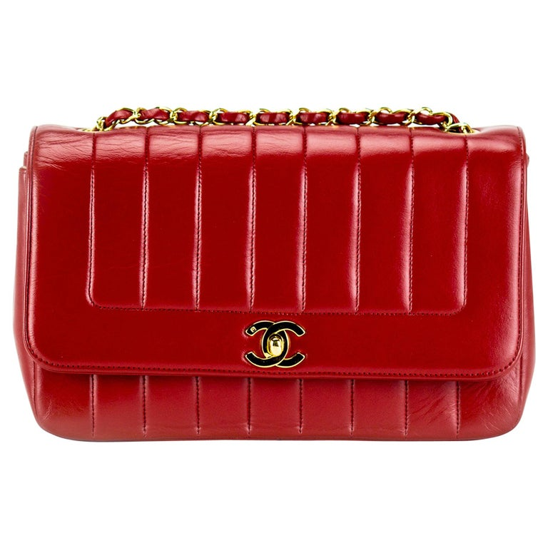 cbcdd388874f98 Chanel Red Lambskin Stripe Diana Medium Vintage Classic Flap Bag For Sale