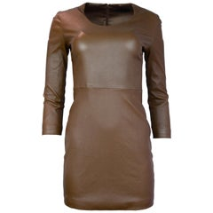 The Row Tobacco Long Sleeve Scoop Neck Leather Dress Sz S