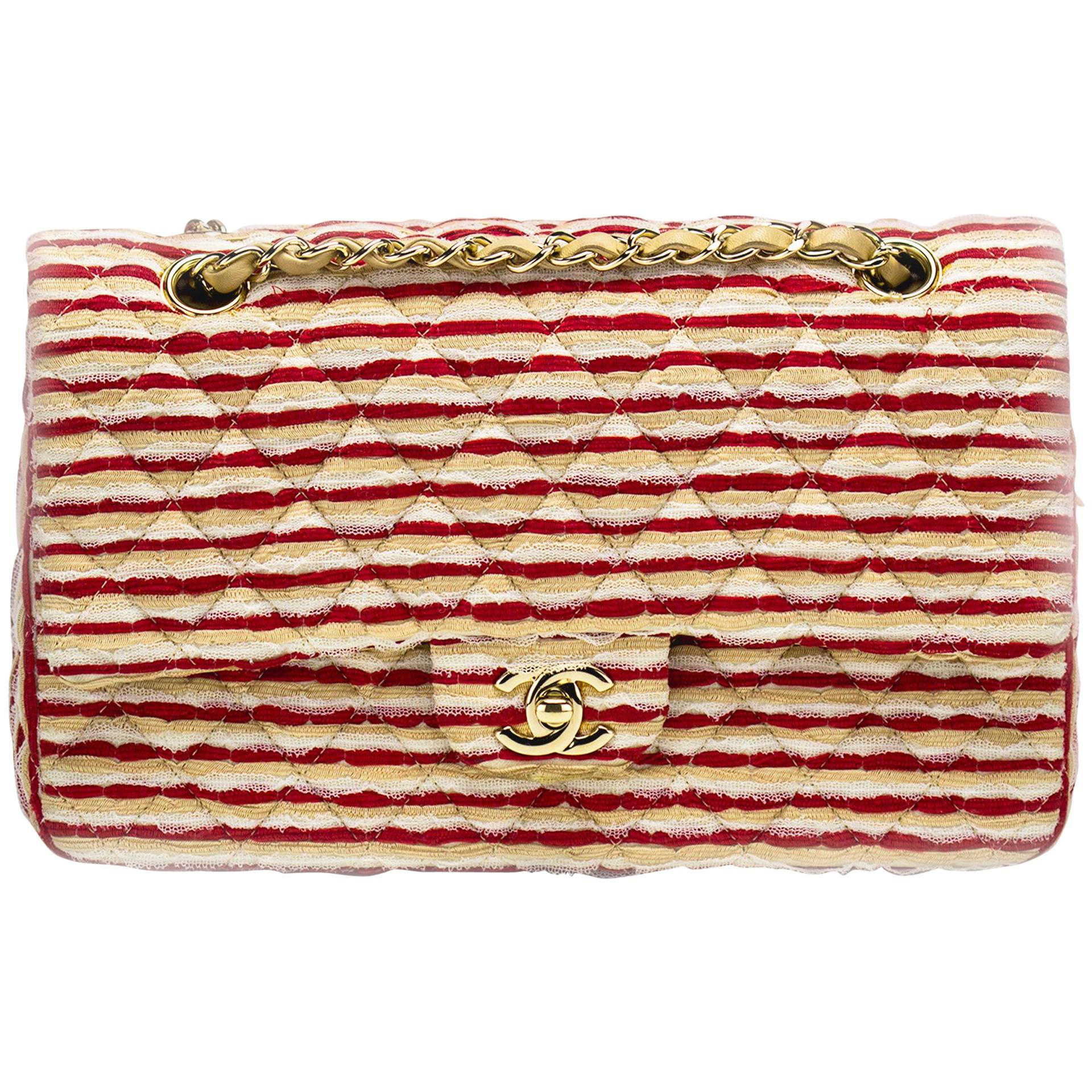 Chanel Medium Classic Vintage Striped Red and Beige Double Flap Bag
