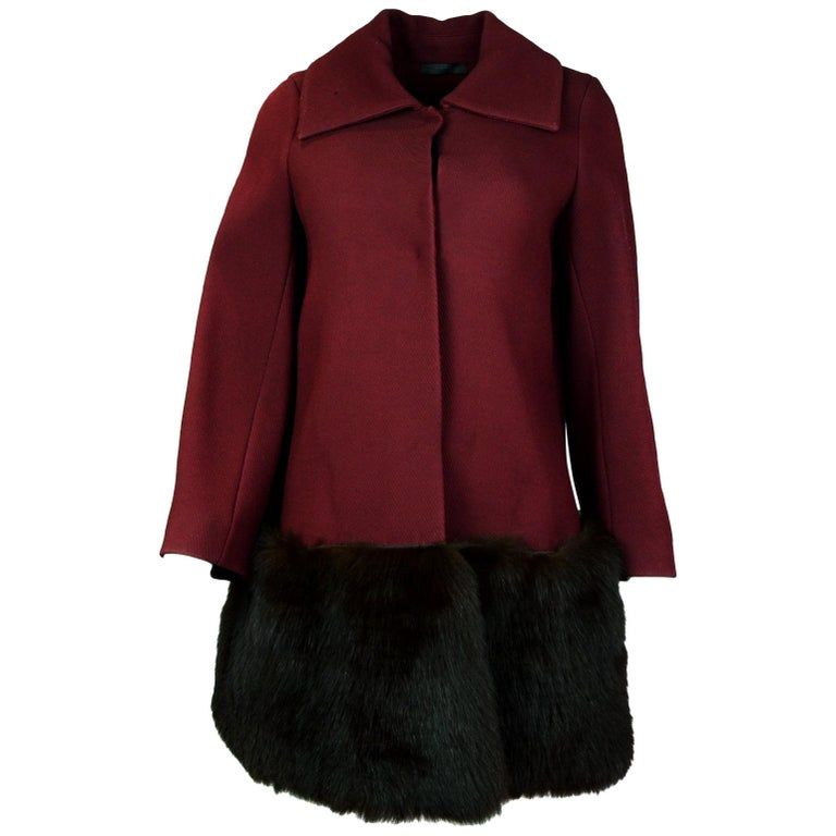 The Row Burgundy Fur Trimmed Red Coat