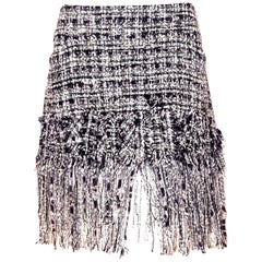 Chanel Black & White Boucle Fringe Silk, Wool & Cotton Blend Skirt Spring '04