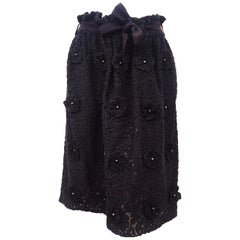 Chloe Black Cotton Lace Flower Applique Skirt