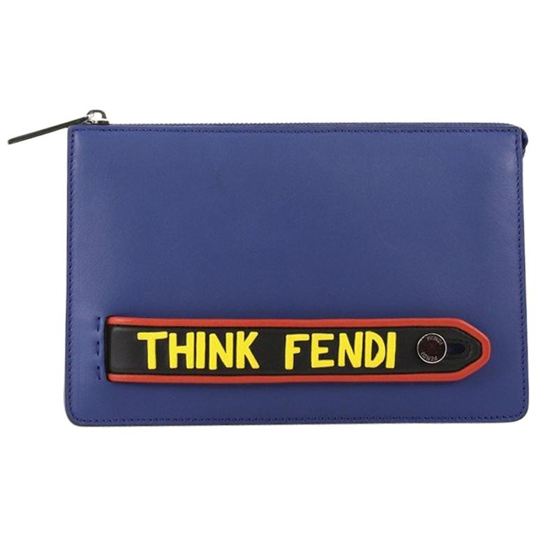 7681d54822 Fendi Vocabulary Pouch Inlaid Leather Small For Sale at 1stdibs
