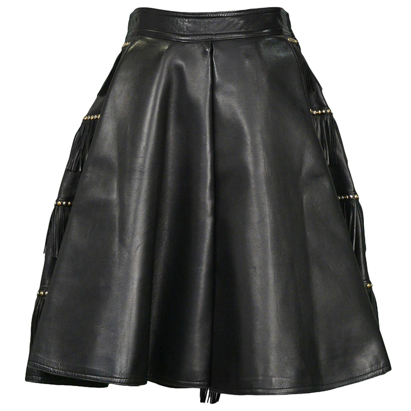 Vintage Gianni Versace Black Leather Fringe Studded Skirt AW 1992