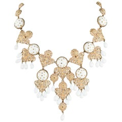 Christian Dior Gilt filigree and white poured glass drop necklace, France 1950