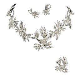 "Christian Dior Rhodium metal paste ""bird with diamond"" 3 piece parure, 1950s"