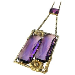 Amethyst glass pendant Arts and Crafts style pendant, Czech 1920s