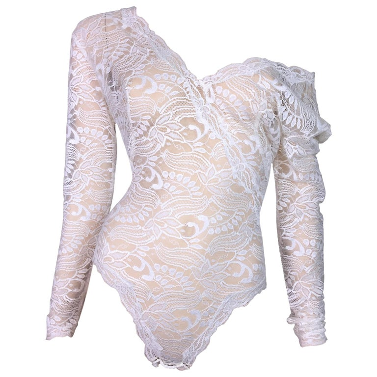 S/S 1991 Gianni Versace Sheer Ivory Plunging Lace L/S Bodysuit Top