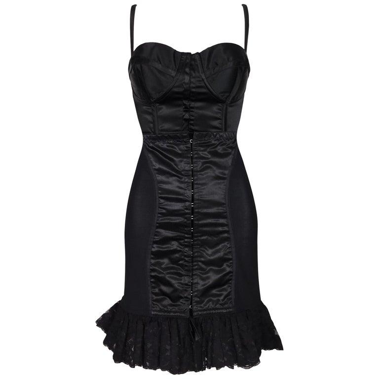 1992 Dolce & Gabbana Black Satin Corset Crop Top & High Waist Wiggle Skirt For Sale