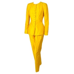 Pierre Balmain 1970's Numbered Haute Couture Yellow Silk Tunic & Pants