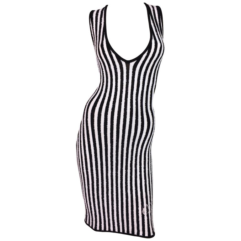 S/S 1997 Christian Dior Black & White Stripe Plunging Bodycon Wiggle Dress