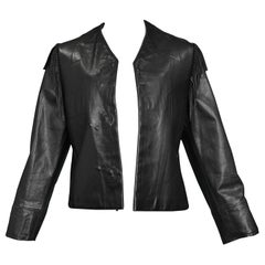 Maison Martin Margiela Black Leather Fringe Jacket