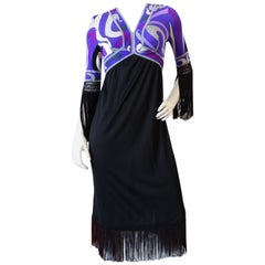 1960s Emilio Pucci Purple Printed Fringe Dress