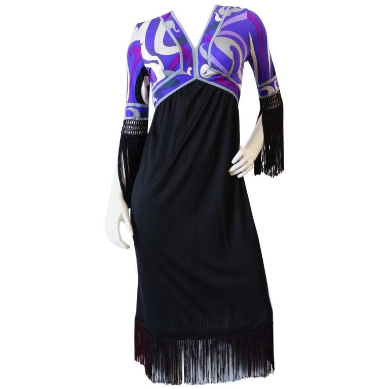 1960s Emilio Pucci Purple Printed Fringe Dress