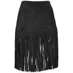 Vintage Yves Saint Laurent Black Suede Fringe Skirt