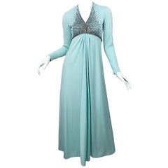 Gorgeous 1970s Victoria Royal Couture Mint Blue Rhinestone Jersey 70s Gown Dress