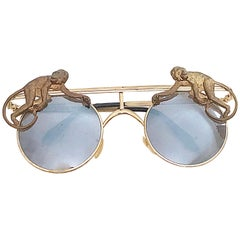 Rare Vintage Mercura Unisex Gold Brass Flying Monkeys Novelty Aviator Sunglasses
