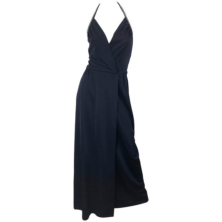 1970s Lilli Diamond Black Jersey Rhinestone Vintage 70s Wrap Maxi Dress Gown For Sale
