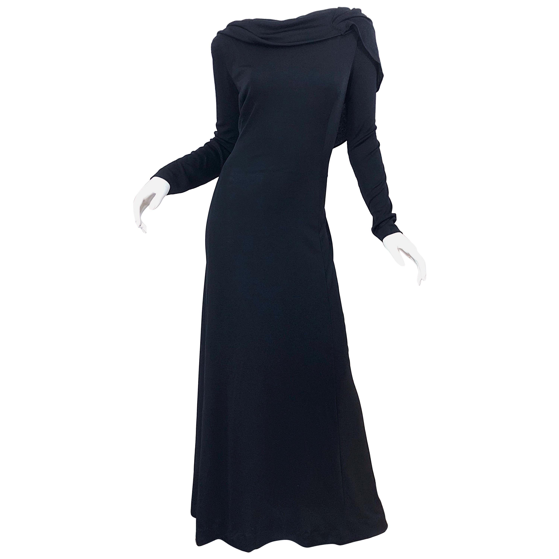1970s Luis Estevez Dramatic Low Back High Neck Vintage 70s Jersey Grecian Gown