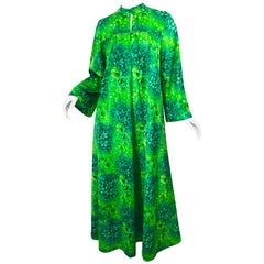 Amazing 1970s Neon + Kelly Green Abstract Flower Print 70s Vintage Caftan Dress