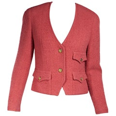 Chanel Pink Vintage Button-Front Jacket