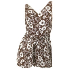 Chic 1960s Brown + White Belted One Piece Romper Swimsuit Vintage 60s Playsuit